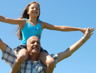girl with grandfather