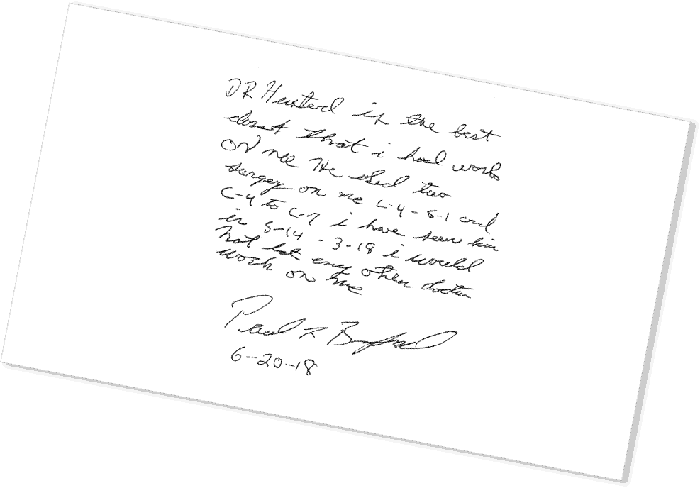 Patient Notes of Thanks to Dr. Husted