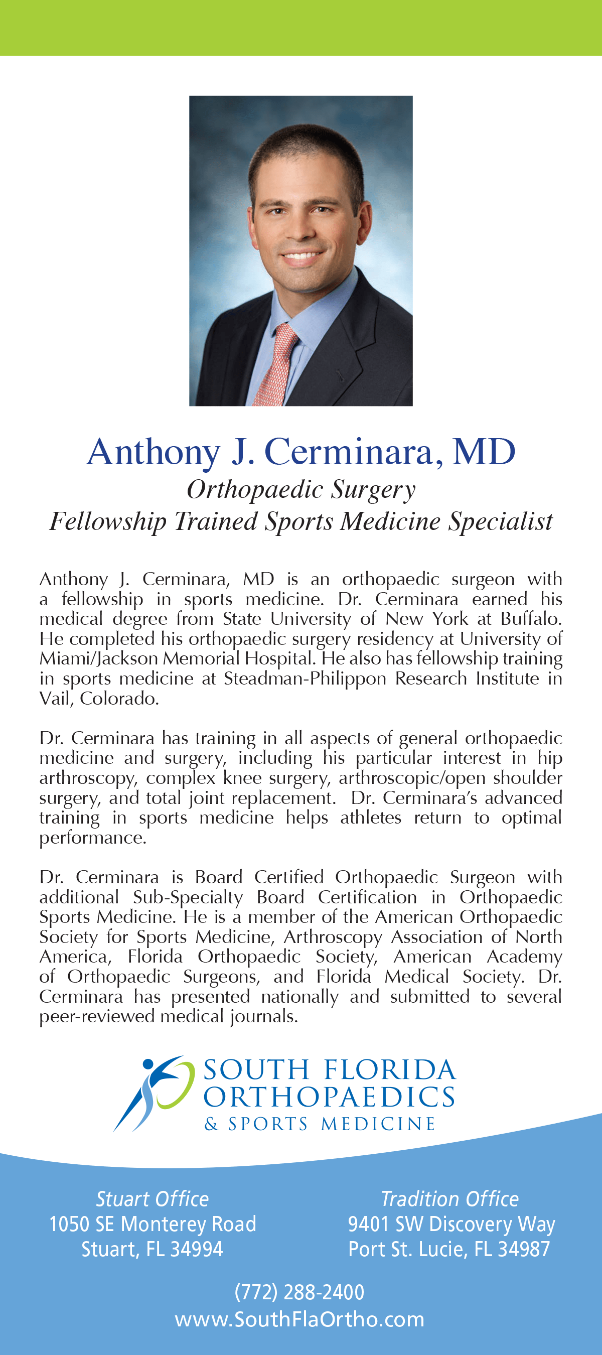 Anthony J  Cerminara, MD, FAAOS | South Florida Orthopaedics