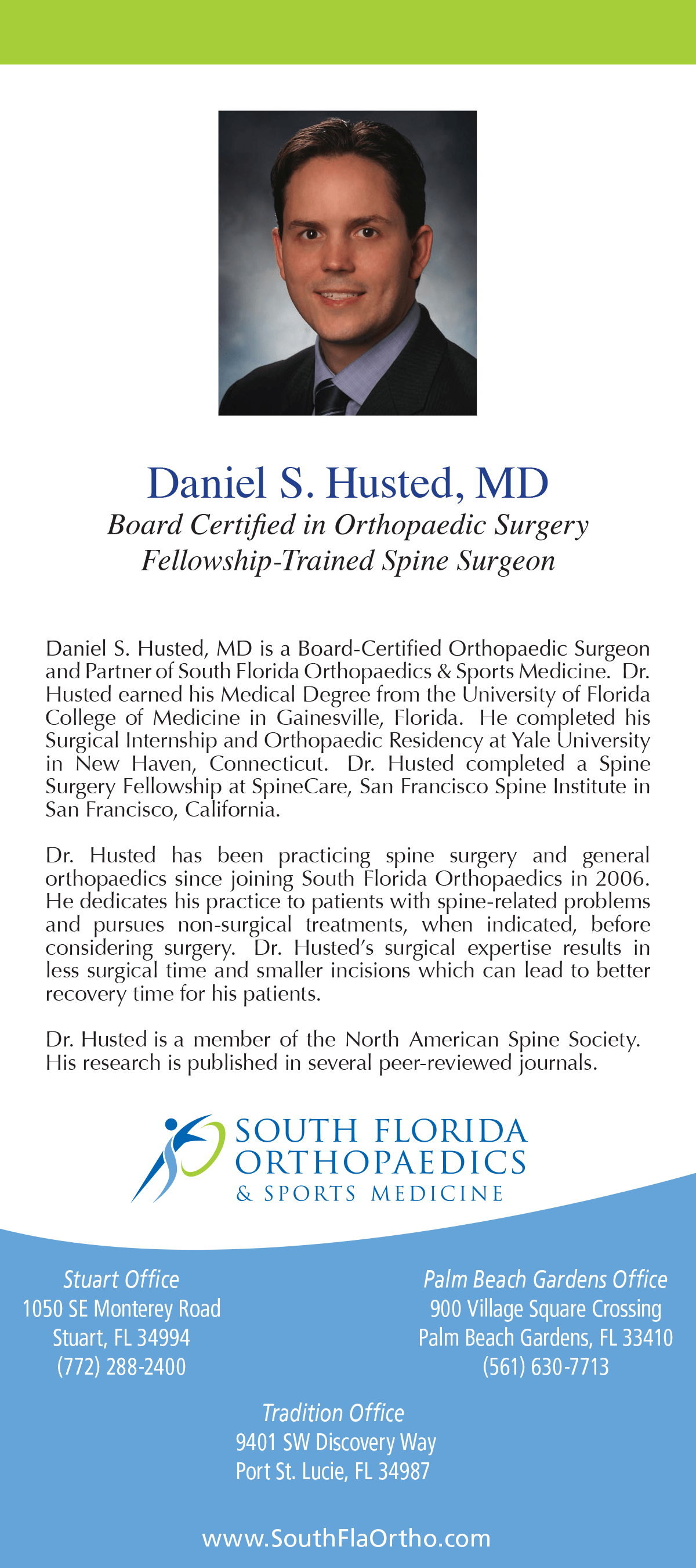 Daniel S Husted Md South Florida Orthopaedics Amp Sports